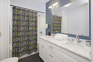 Love All Over Print Shower Curtains