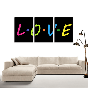 L.O.V.E 3 Panels Canvas Prints Wall Art for Wall Decorations