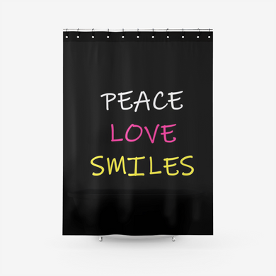 Peace Love Smiles Shower Curtain Printed Bathroom Curtains