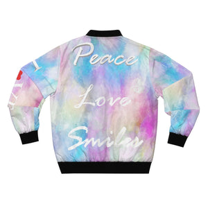 Peace Love Smiles AOP Bomber Jacket