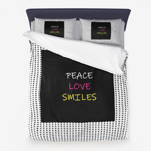 Peace Love Smiles Microfiber Duvet Cover