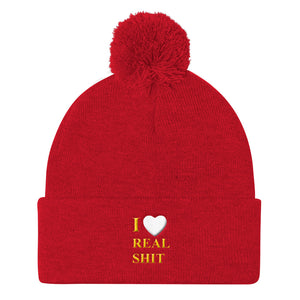 I Heart Real Shit Pom Pom Knit Cap
