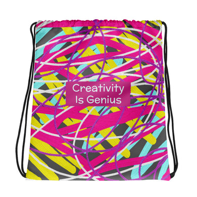 Creativity Is Genius Drawstring bag