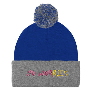 No Worries Pom Pom Knit Cap