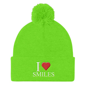 I Love Smiles Pom Pom Knit Cap - UniqXpression