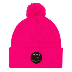 Peace Love Smiles Pom-Pom Beanie