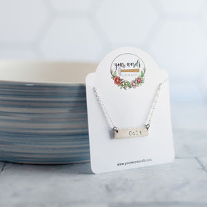 Hand Stamped Name Necklace | Horizontal Bar Necklace