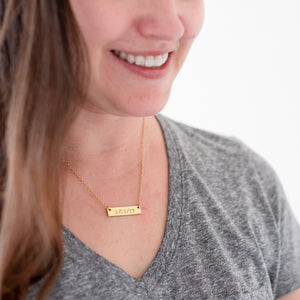 Hand Stamped Date Necklace | Horizontal Bar Necklace