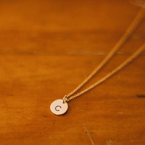 Hand Stamped Necklace | Tiny Circle Initial Necklace