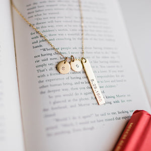 Hand Stamped Initial Necklace | Anniversary Necklace