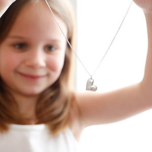 Hand Stamped Necklace | Children's Initial Heart Necklace