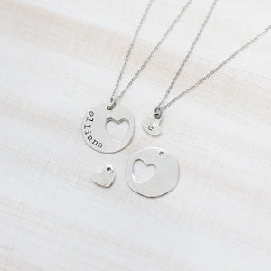 Hand Stamped Necklace | Tiny Heart Initial Necklace