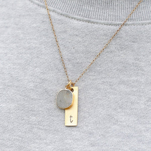 Hand Stamped Necklace | Labradorite Initial Necklace