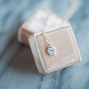 Hand Stamped Necklace | Tiny Hexagon Initial Necklace