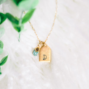 Hand Stamped Necklace | Raw Turquoise Initial Necklace