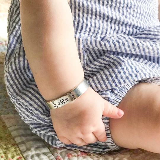 Baby's Monogram Pewter Cuffs -handmade custom leather cuffs & pewter products
