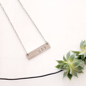 Hand Stamped Initial Necklace | Horizontal Bar Necklace
