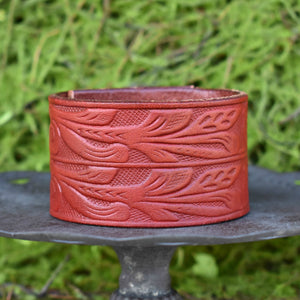 Custom Leather Cuff | Red Floral Tooled -handmade custom leather cuffs & pewter products