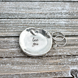 Custom Ring Dish Stamped with Your Words -handmade custom leather cuffs & pewter products