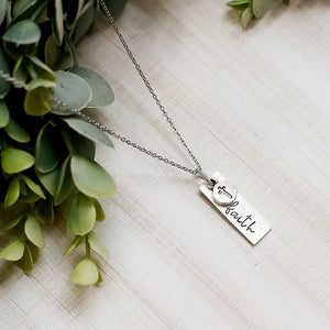 Hand Stamped Necklace | Faith Necklace