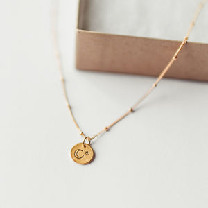 Hand Stamped Necklace | Moon + Stars Necklace