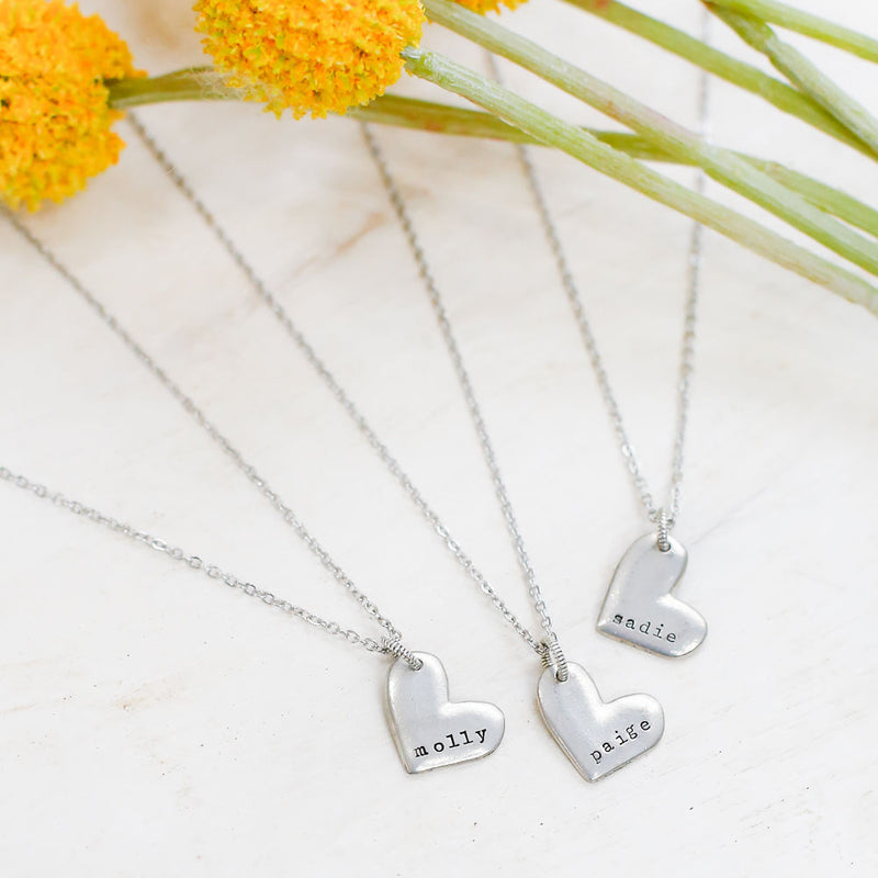 Children's Name Hand Stamped Heart Necklace -handmade custom leather cuffs & pewter products