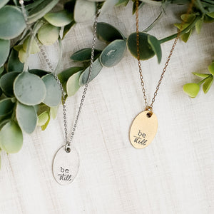 Hand Stamped Necklace | Be Still Necklace