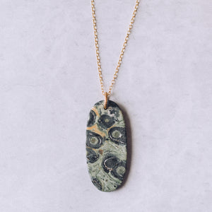 Long Layering Necklace | Kambaba Jasper Natural Stone Slice Necklace