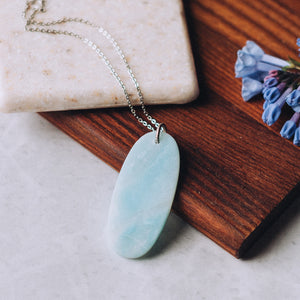 Long Layering Necklace | Amazonite Natural Stone Slice Necklace