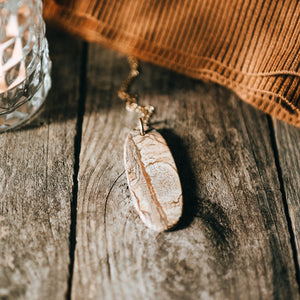 Long Layering Necklace | Picture Jasper Natural Stone Slice Necklace