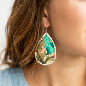 Upcycled Fabric Earrings | Cool Colors