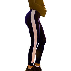 Single Stripe Black And White Yoga Pants | BigGymStore.com - biggymstore