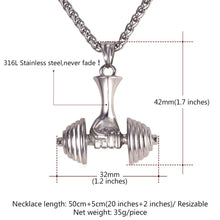 Load image into Gallery viewer, Deluxe Dumbbell Necklace | BigGymStore.com