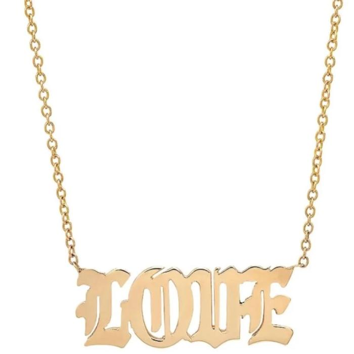 caitlin nicole jewelry solid 14K gold english love necklace