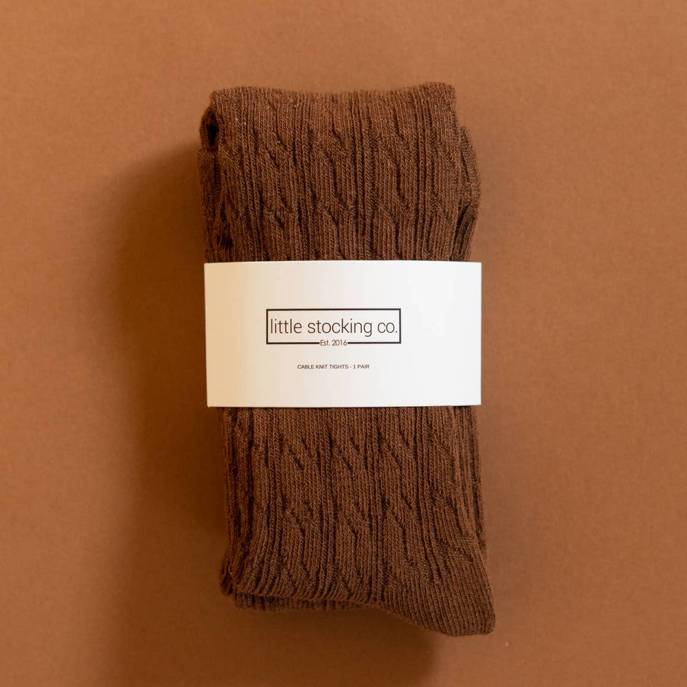 little stocking co. chocolate brown cable knit tights
