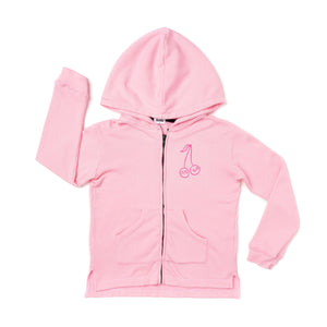 kira kids cherries graphic zip hoodie in pink