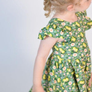 olliejay lemon floral ruffle twirl dress