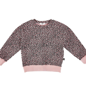 petite hailey leopard sweatshirt in pink