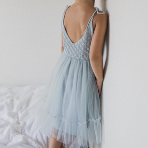 raised by water elle dress in pale blue