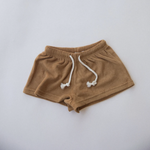 raised by water kids terry shorts in maple