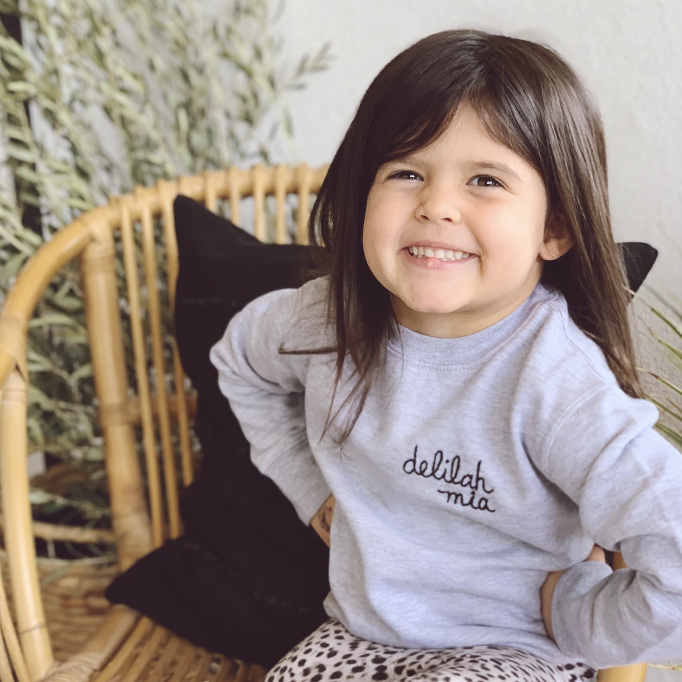 ef the label hand embroidered toddler sweatshirt
