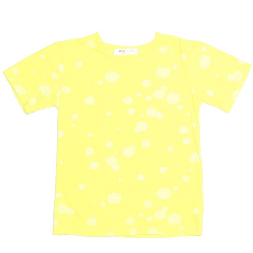 joah love cruz splatter tee in neon yellow