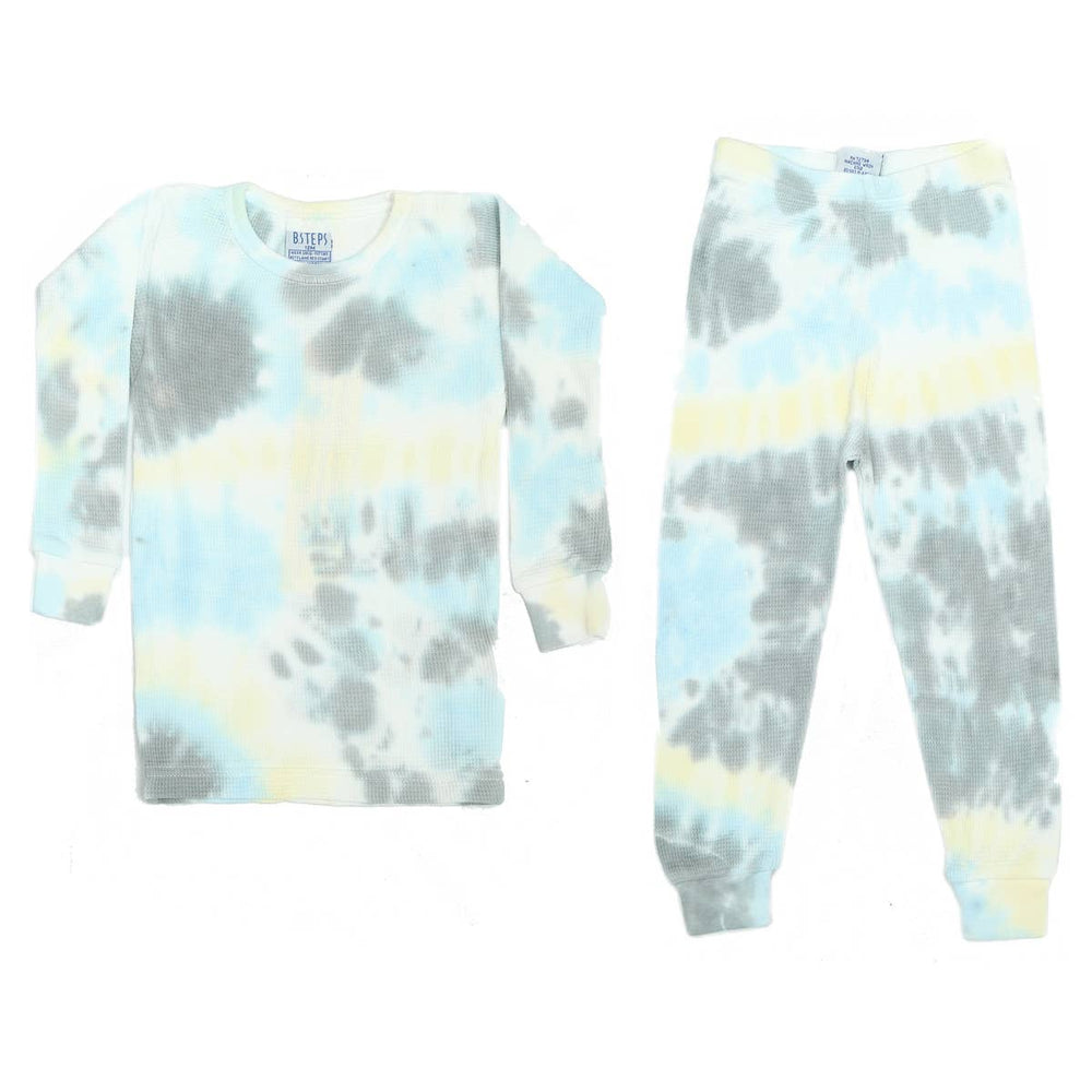 baby steps 2 piece thermal pajamas in isaac tie dye