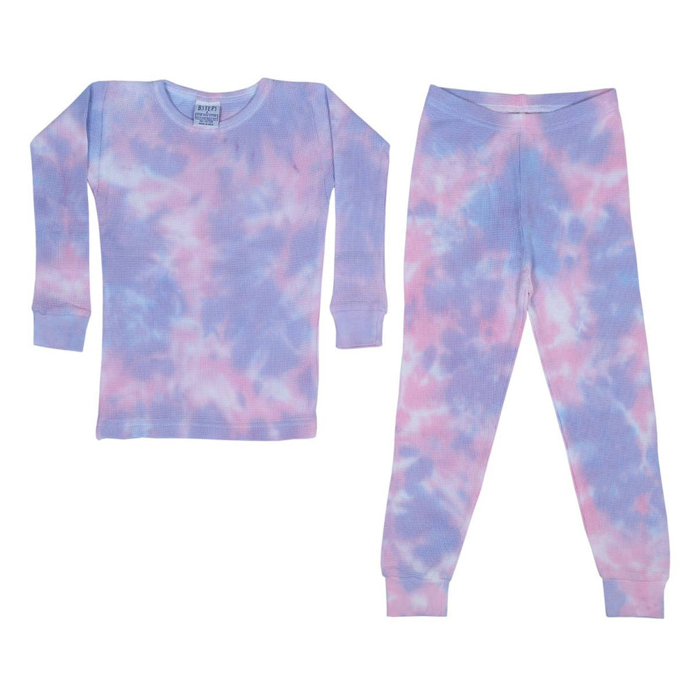 baby steps 2 piece thermal pajamas in matilda tie dye