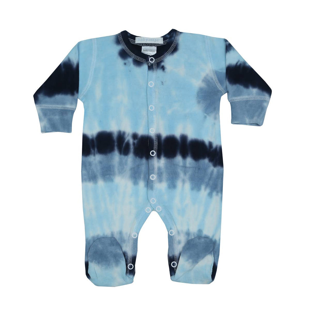 baby steps footie pajamas in ocean tie dye
