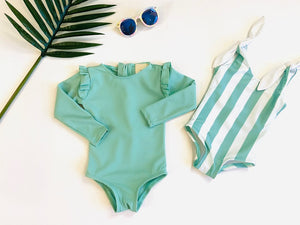 bonbon swim mia suit in seafoam green