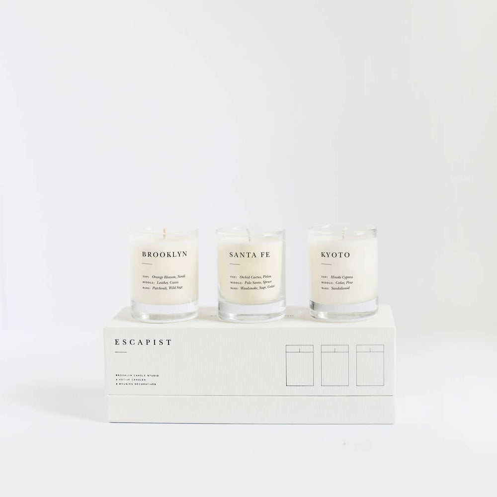 brooklyn candle studio escapist votive set in smoke + woods