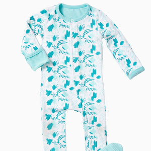 clover baby & kids brushstroke cloverall in blue