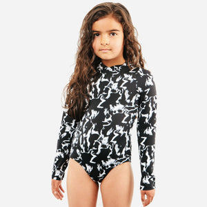 current label swim goldie long sleeve girls one piece in sea fog