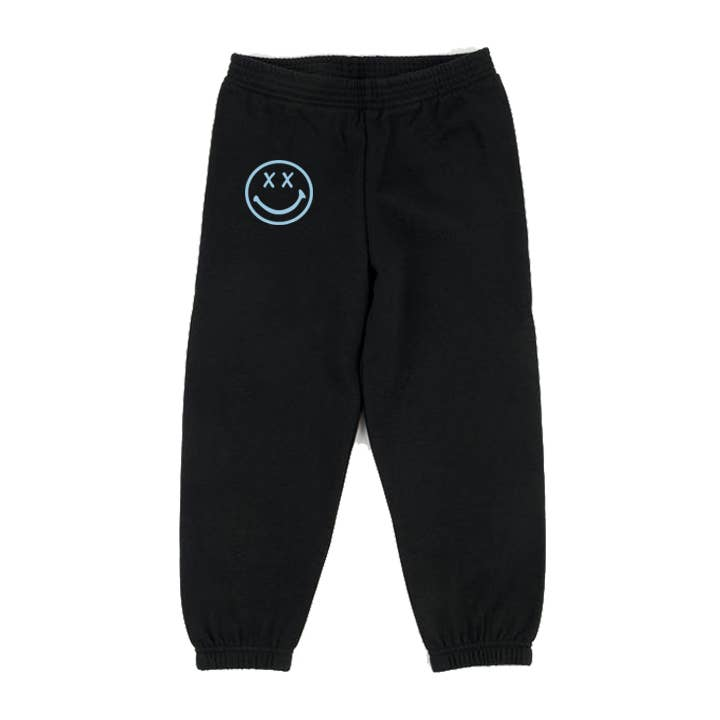 disco panda kids smiley sweatpants in black & blue